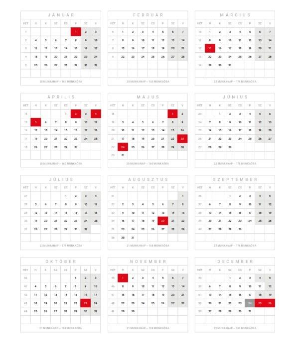 2021-es ünnepek, szabad és munkaszüneti napok